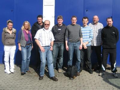 Neun der Teilnehmer bei der Abfahrt in Eberbach