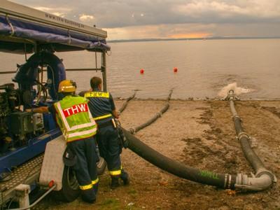 Der Bodensee im Hintergrund diente als Übungsgewässer