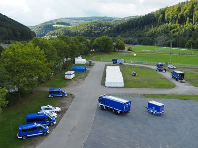 Das Camp auf dem Eberbacher Festplatz in der Au war der Unterbringung bisheriger Einsätze nachempfunden