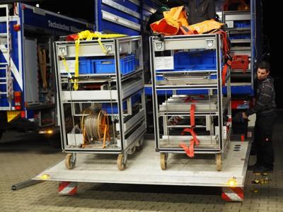Nach erfolgreicher Prüfung wurden die Geräte wieder auf die Fahrzeuge verlastet