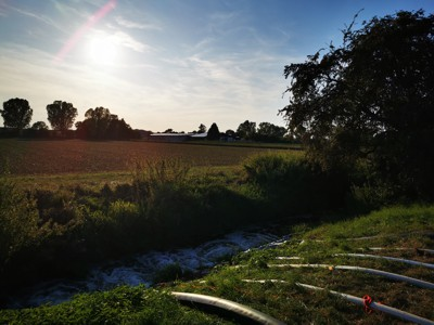 Die anfallenden Wassermassen wurden in den Landgraben gefördert